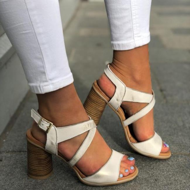 Summer Women High Chunky Heels Crisscross Buckle Sandals