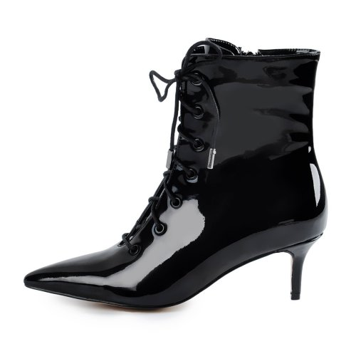 Kitten Low Heel Pointed Toe Lace Up Patent Black Leather Ankle Boots