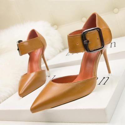fashionable shallow mouth thin heel strap pointed nightclub high heel women's single shoes