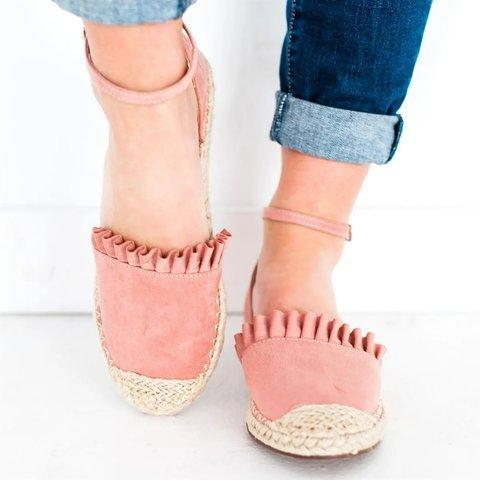 Ruffle Suede Buckle Strap Women Shoes