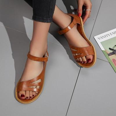 Women's PU Peep Toe Buckle Hollow-out Flat Sandals
