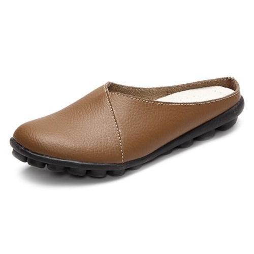 Ballet Summer Women Genuine Leather Flat Flexible Loafer Flats flip flops