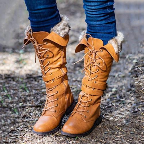 Women Stylish Low-heel Knee-Height Boots