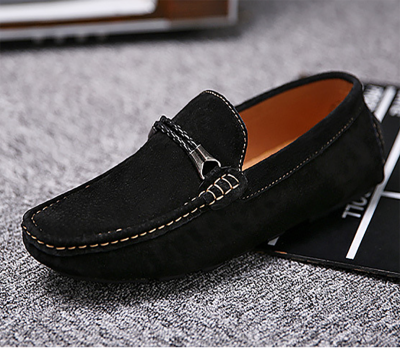 Leather breathable flat-bottomed casual shoes