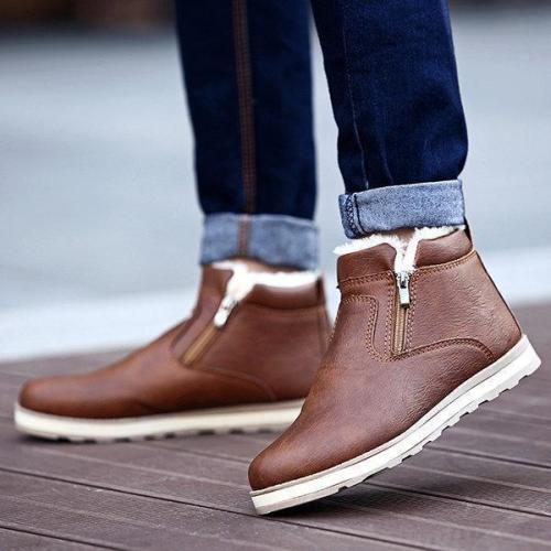 Men PU Leather Warm Plush Side Zipper Casual Boots
