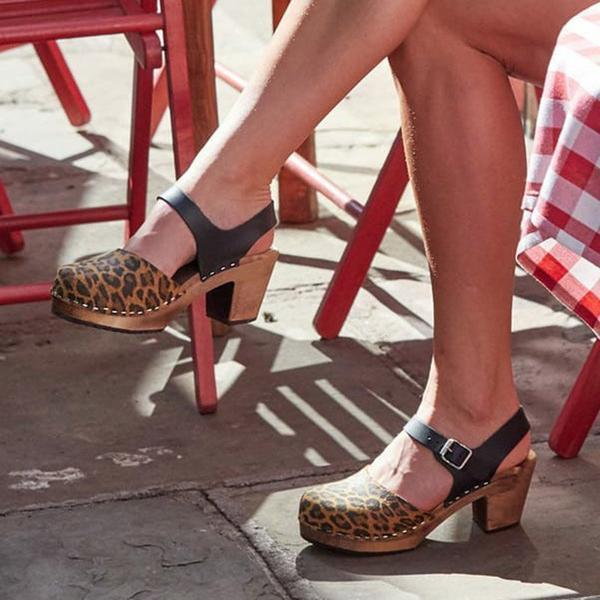 Color Block Leopard Print Round Toe Buckle Platform Sandals