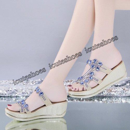 Women Sandals Summer Fashion High Heel Sandals Crystal Casual Ladies Shoes High Heels Rhinestone slippers