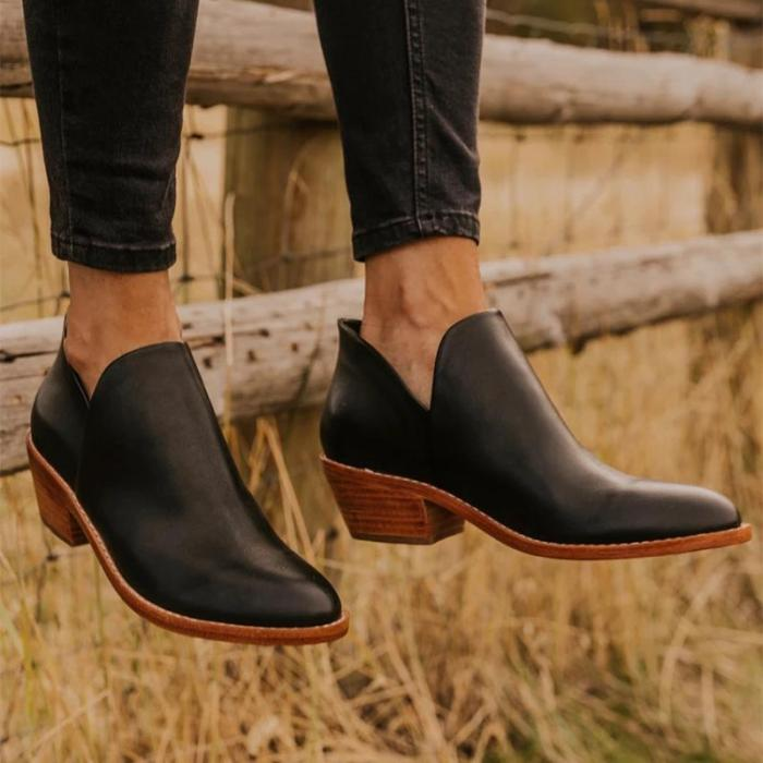 Casual solid color round head with bare boots