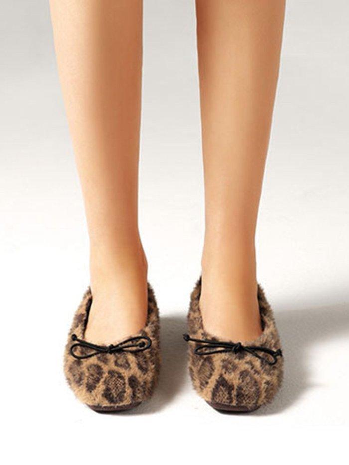 Bow Leopard Print Plush Flattie