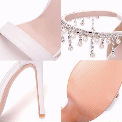 White Imitation Pearls High Heel Sandals