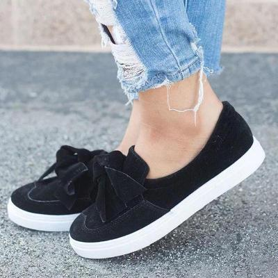 Velour Bow Trim Round Toe Women Casual Shoes