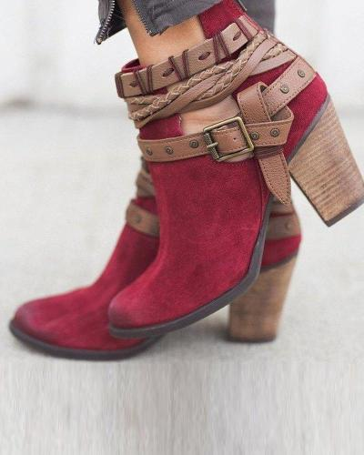 Block Heeled Belted Ankle Bootie