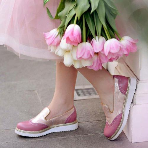 Color Block Platform Shoes Round Toe Slip-On Women'S Loafers