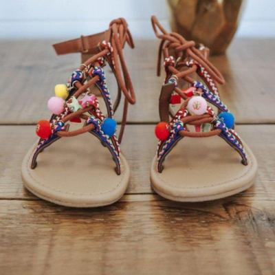 Boho Vintage Lace-Up Summer Pu Flat Heel Shoes Sandals