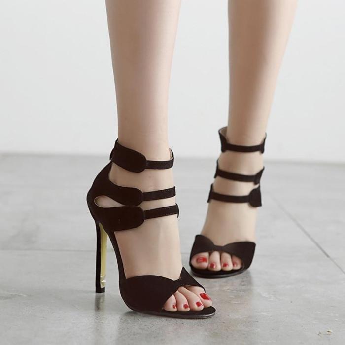 the new female red Roman sandals heels shoes zipper peep-toe shoes