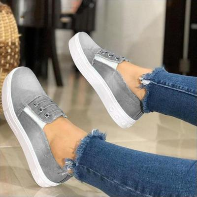 Women Casual Canvas Closed Toe Low Heel Sneakers