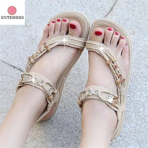 Fashion Rhinestone Bead Big Size Women Bohemian Sandals Comfortable Flats Flip Flops