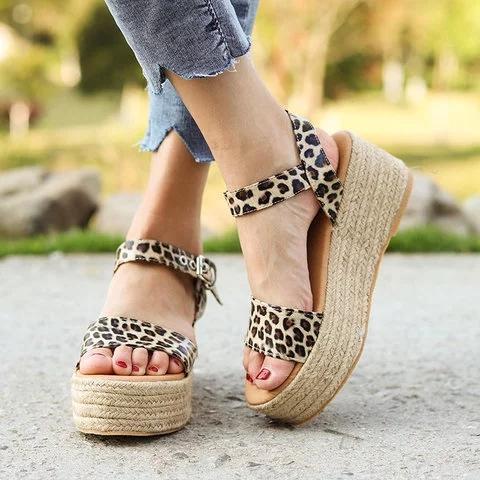 Women's Casual Wedge Heel Open Toe Espadrille Sandals