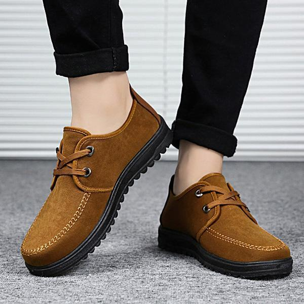 Mens Breathable Non-Slip Shoes Casual Lace-up Flats