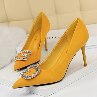 stiletto suede pointed high heel metal rhinestone buckle single shoes