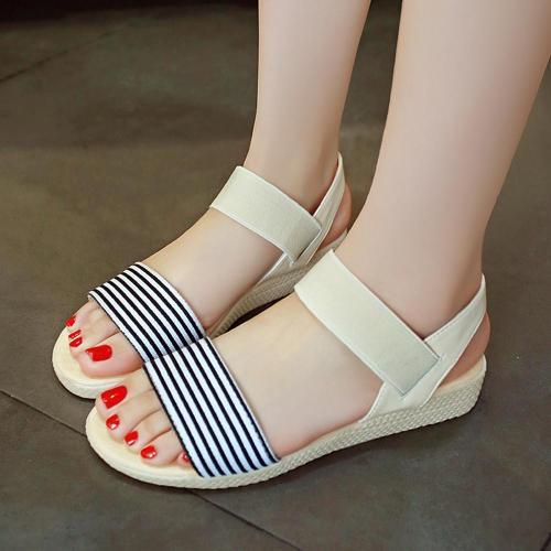 Sandals Female Stripe Flat Heel Comfort Anti Skidding Beach Shoes Sandals Slipper