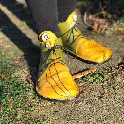 Yellow Pu Stylish Lace-Up Front Flats