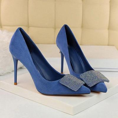 High Heels Crystal Glitter Pumps Lady Wedding Green Yellow Blue Heels Female