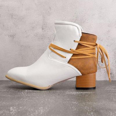 Women Vintage Low Heel Ankle Boots Plus Size PU Casual Back-lace Boots