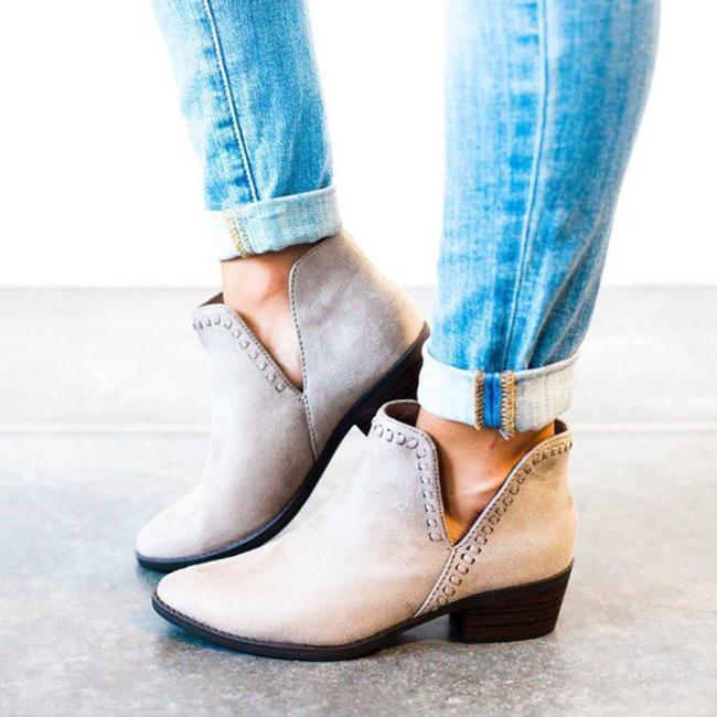 Plus Size Women Booties Casual Low Heel Side Slit PU Boots