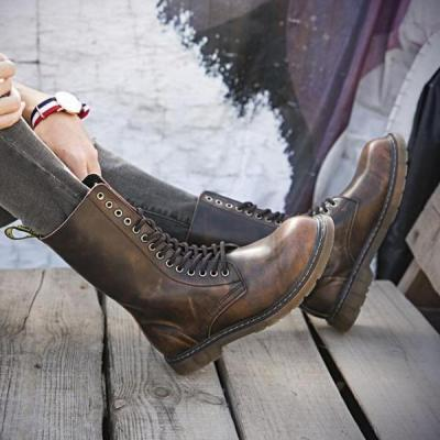 High-top British wind leather retro high boots and velvet Martin boots