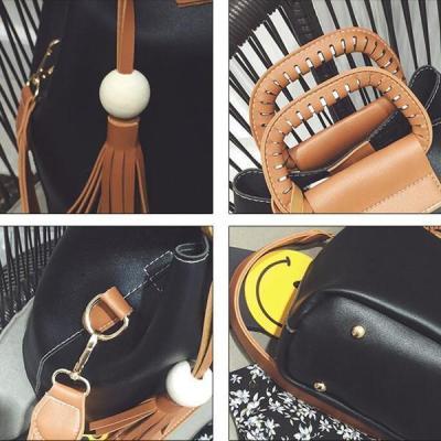 Stylish PU Leather Handbag Bucket Bag Crossbody Bag