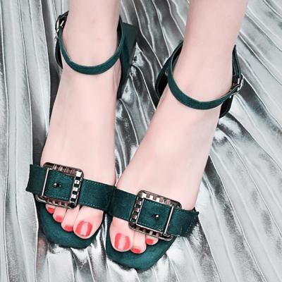 Elegant Date Chunky Heel Open Toe Suede Sandals