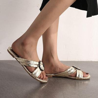 Shiny Cross-Band Leisure Home Wear Low Heel Sandals