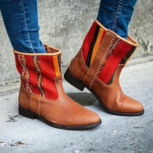 Retro Personality Irregular Striped Leather Boots