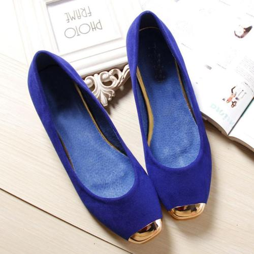 Plain Flat Velvet Round Toe Date Office Flat & Loafers
