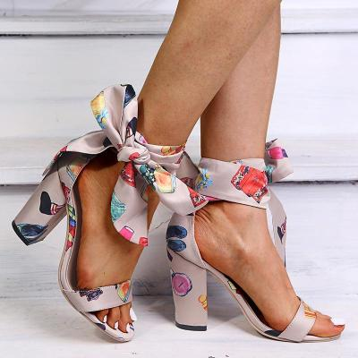 2020 Summer New Women's Shoes Round Head High Heel Decor Women's Chunky Heel Sandals Women