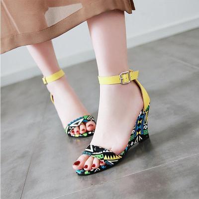 Wedge Heel Printed Party Open Toe Sandals