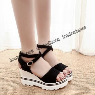 Women Summer Solid suede Pumps Platform wedge Sandals Roman Wedges Casual Sandals high heel sandals