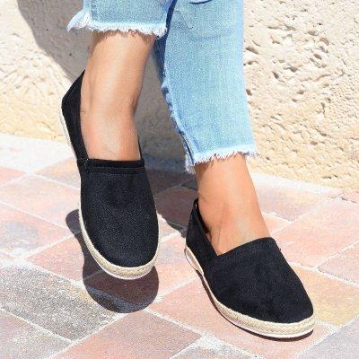 Easy Slip-on Black Espadrille Flats