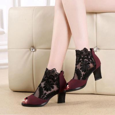 Women Lace Peep Toe Chunky Heel Shoes