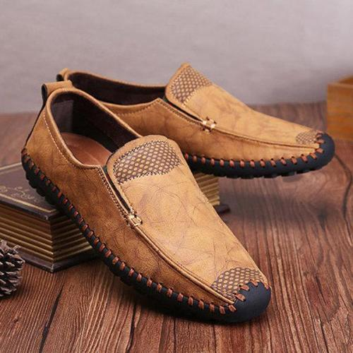 Men Hand Stitching Soft Sole Cap-toe Laze Shoes Slip On Loafers