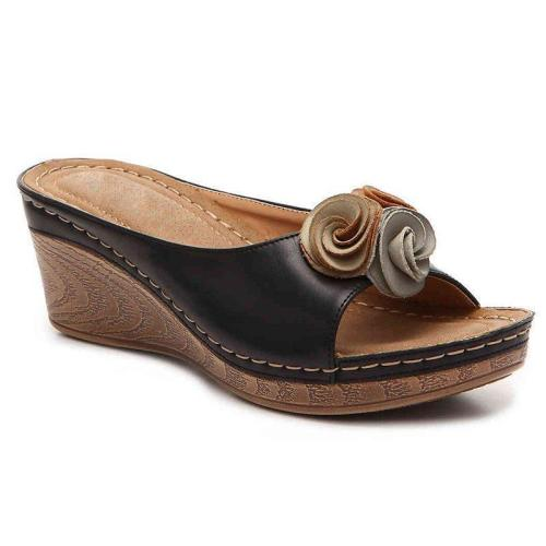 Wedge Sandals Summer/Spring Flower Slip-On Sandals