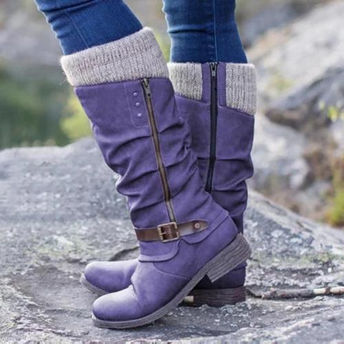 Sweat Knit Top Zipper Buckle Mi-Calf Pu Low Heels Boots