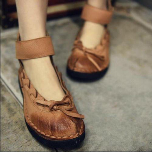 Women's PU Round Toe Bow Slip-On Flat Sandals