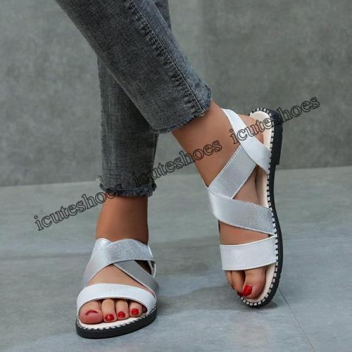 Elastic Band Ladies Flat Sandals Women's Glitter Leather Shoes Woman Summer Sewing Rome