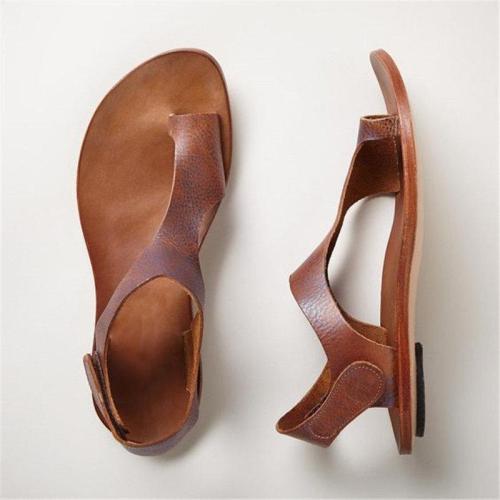 Women Plus Size Magic Tape Flat Heel Sandals