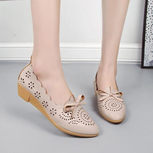 Summer Girly Style Hollow Bowknot Low Wedges Shoes