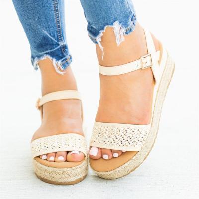 Summer Straw-Weaved Hollow Buckle Women Platform Sandals
