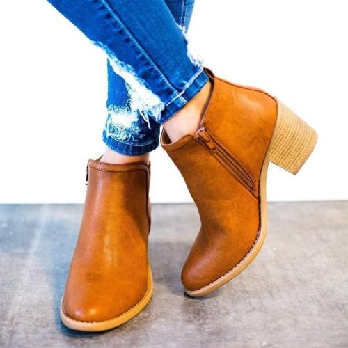 Women Ankle Boots High Thick Heel Sexy Women Boots Cool Basic Leather Boots Shoes