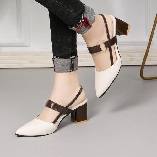 women's pointy chunky sandals large size shoes